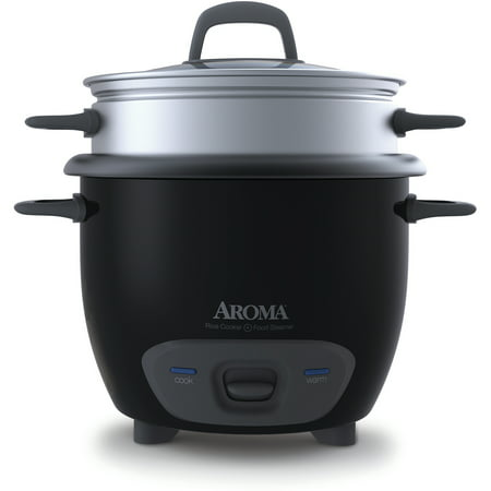 Aroma Bowls (Aroma 6 Cup Dishwasher Safe & Non-Stick Pot Style Black Cooker & Food Steamer with Glass Lid, 4 Piece)
