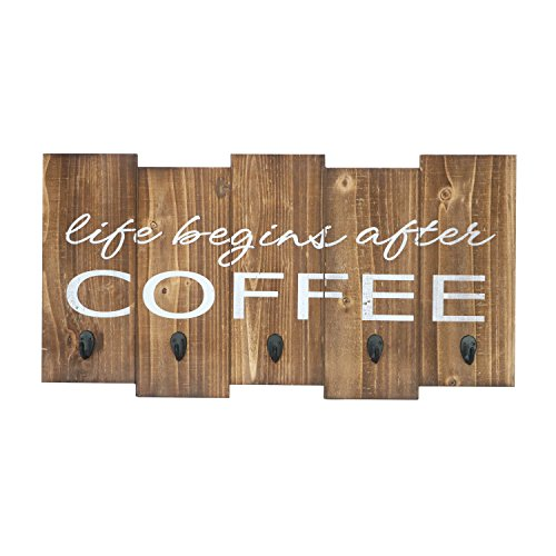"Barnyard Designs Life Begins After Coffee Mug Holder - Rack - Display, Rustic Farmhouse Wood Coffee Wall Decor Sign for Kitchen, Bar, Cafe 25"" x 13"""