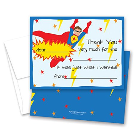 20 Super Hero Kids Fill-in Birthday Thank You Cards - image 1 of 1