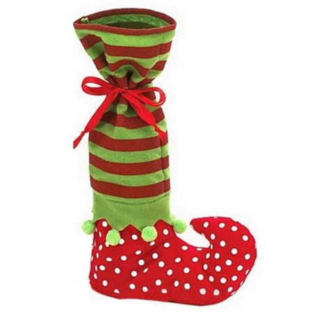 Red and Green Christmas Stocking Gifts Socks Elf Style Long Candy Socks - Green Stockings