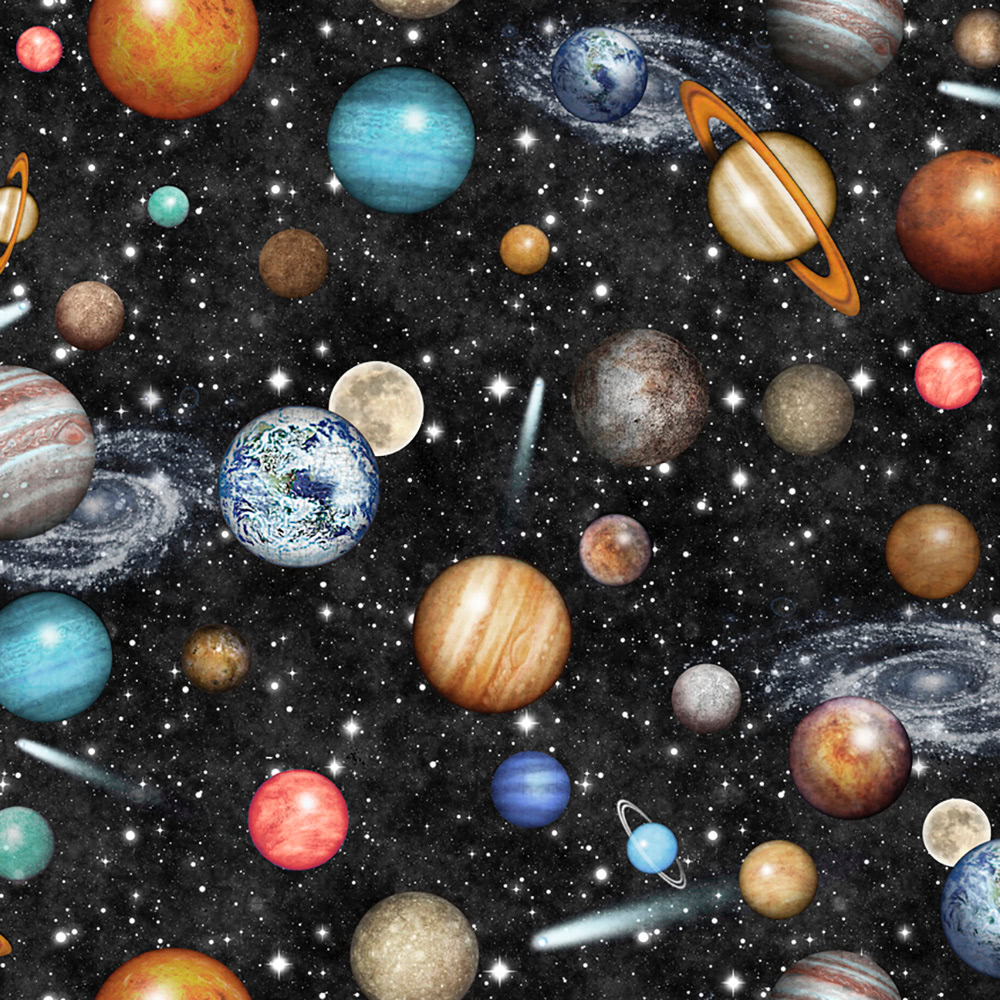 Quilting Treasures Dan Morris Intergalactic Deep Space Planets