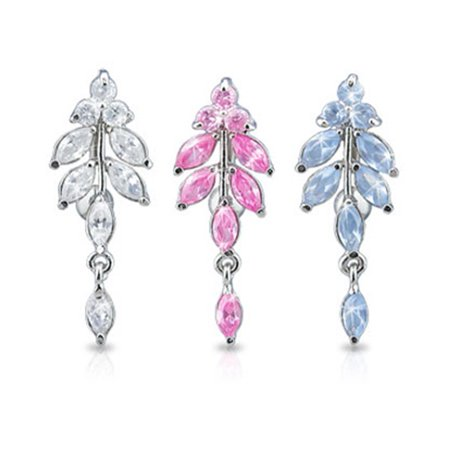 Jeweled Vine Dangling Reversed Belly Ring With Titanium Shaft Pink