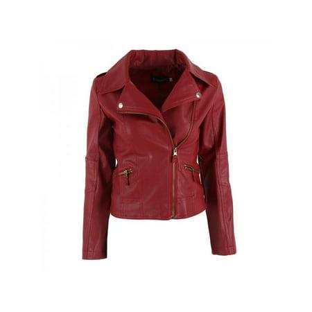 Women PU Leather Zipper Motorcycle Jacket Coat