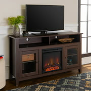 """Woven Paths Highboy Glass Door Fireplace TV Stand for TVs up to 65"""", Espresso"""