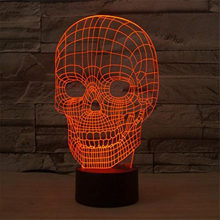 Skull 3D Night Light Touch Table Desk Lamps for Halloween Decor, Elstey 7 Color Changing Lights with Acrylic Flat & ABS Base & USB Charger