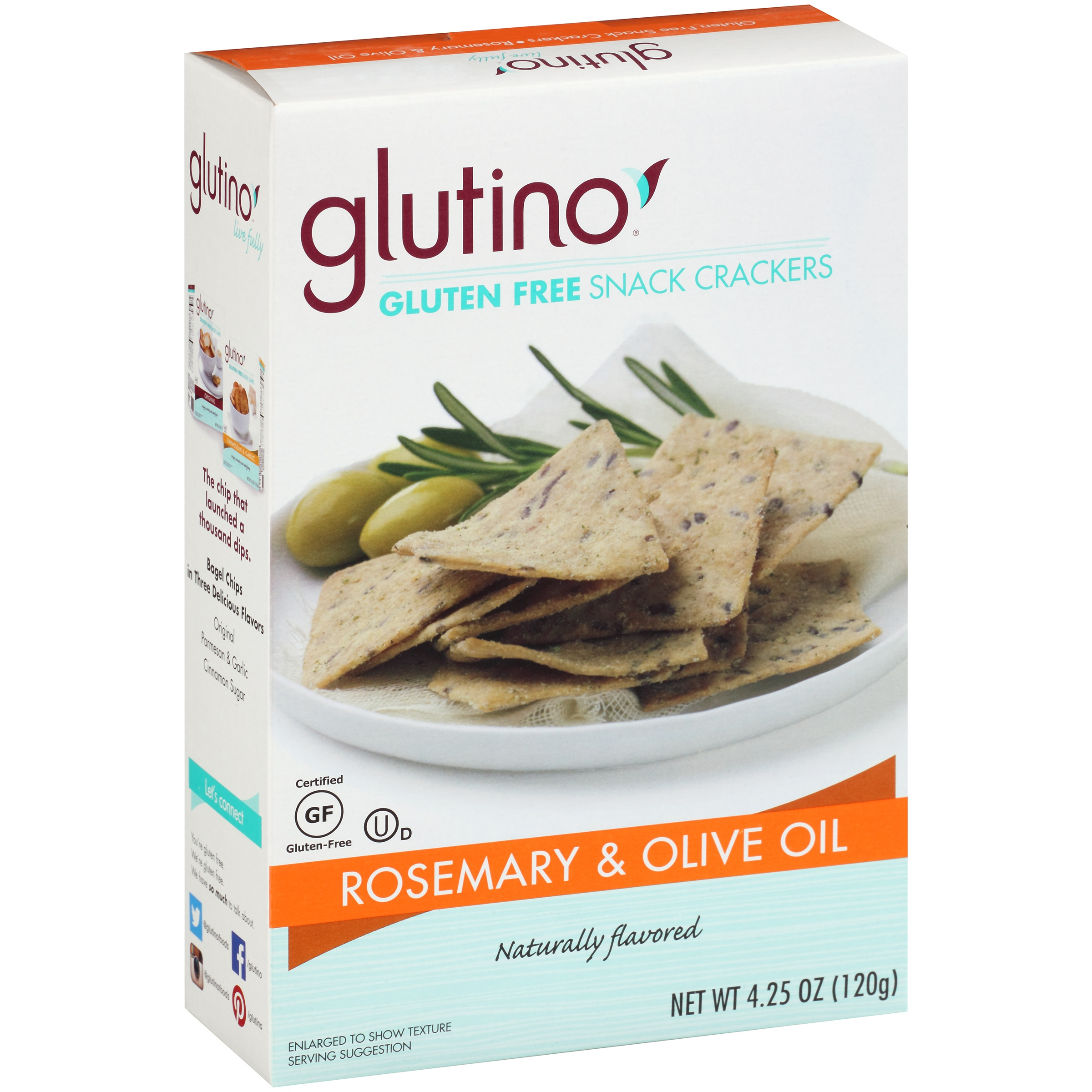 Glutino® Gluten Free Rosemary & Olive Oil Snack Crackers 4.25 oz. Box