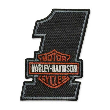Harley-Davidson Embroidered #1 Bar & Shield Texture Emblem Patch, Black EM035642, Harley Davidson ()