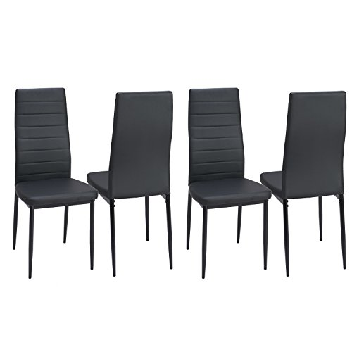 Set of 4 PU Leather Dining Side Chairs Elegant Design High Back Home Kitchen Furniture Black