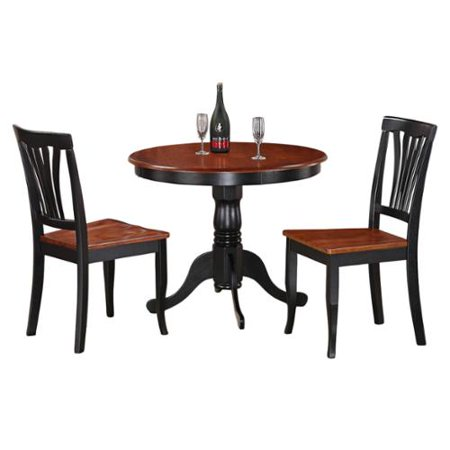 3-Piece Kitchen Nook Dining Set-Small Kitchen Table and 2 Kitchen Chairs Black and Cherry