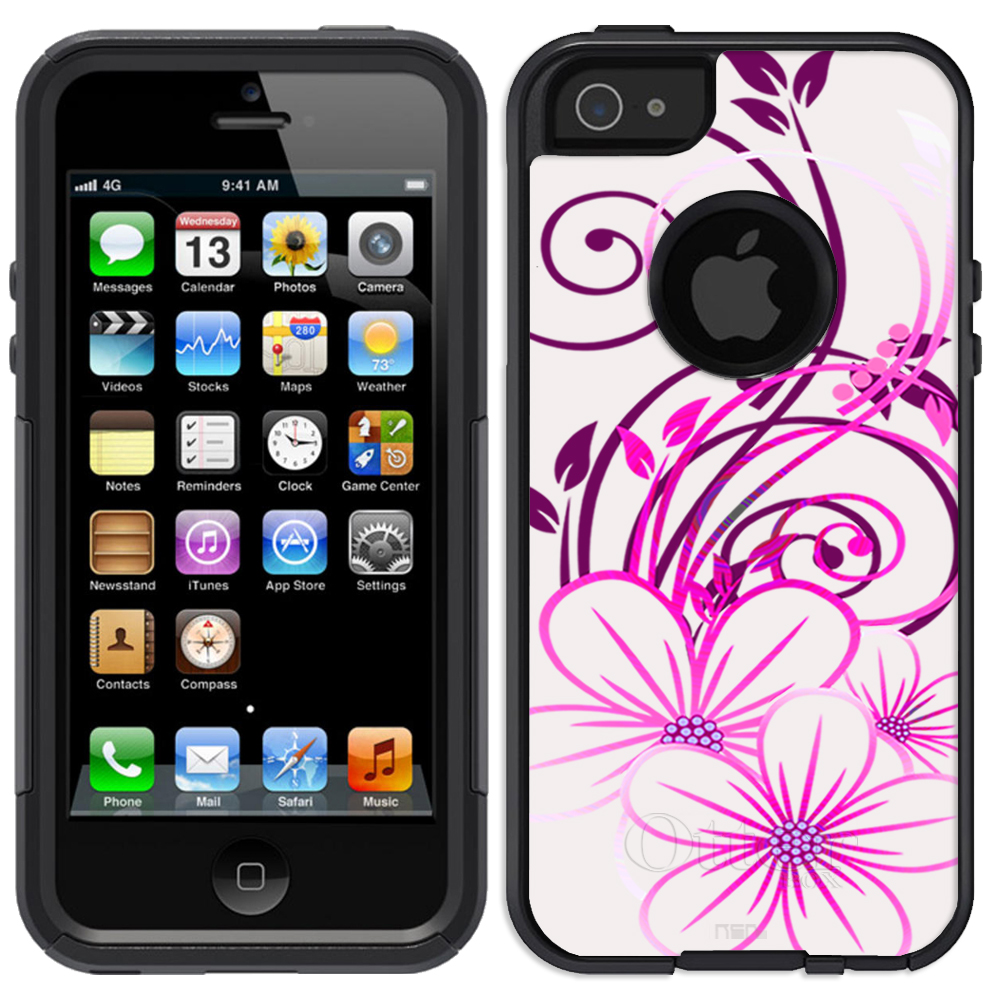 SKIN DECAL FOR OtterBox Commuter Apple iPhone SE Case - Sketch of a Flower Pink on White DECAL, NOT A CASE