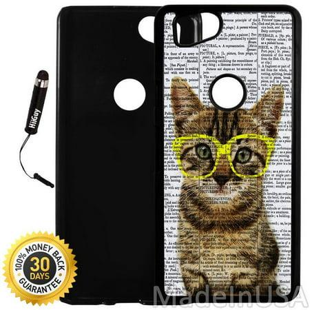 Custom Google Pixel 2 Case (Cute Kitty Yellow Glasses) Plastic Black Cover Ultra Slim | Lightweight | Includes Stylus Pen by Innosub](Black Pixel Glasses)
