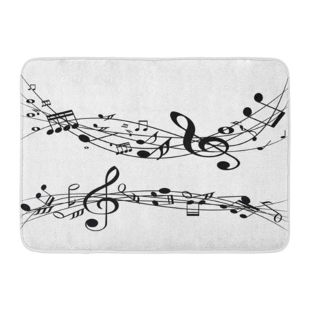 GODPOK Abstract Music Notes on Line Wave Black G Clef and Can Be Adapt to Annual Report Magazine Corporate Rug Doormat Bath Mat 23.6x15.7 inch Abstract Art Blank Note