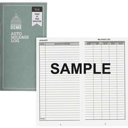 Dome, DOM770, Auto Mileage Log, 1 Each, Gray