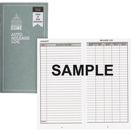 Dome, DOM770, Auto Mileage Log, 1 Each, - Auto Mileage Log