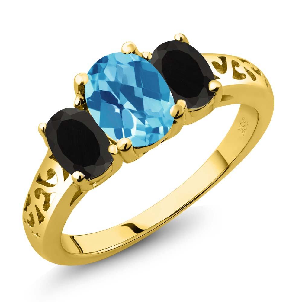 2.08 Ct Oval Checkerboard Swiss Blue Topaz Black Onyx 18K Yellow Gold 3-Stone Ring