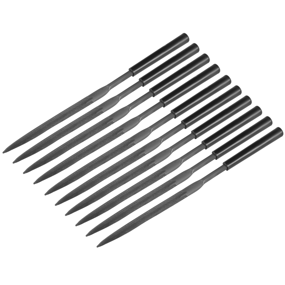 10Pcs Second Cut Steel Half Round Needle File with Plastic Handle, 5mm x 180mm