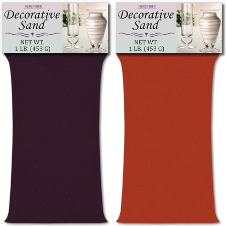 HeroFiber Colored Unity Sand (2 lbs.) - Purple and Coral - 1 lbs. per Color - Decorative Art Sand for Weddings, Vase Filling, Kids' Craft Play - Coral Sand