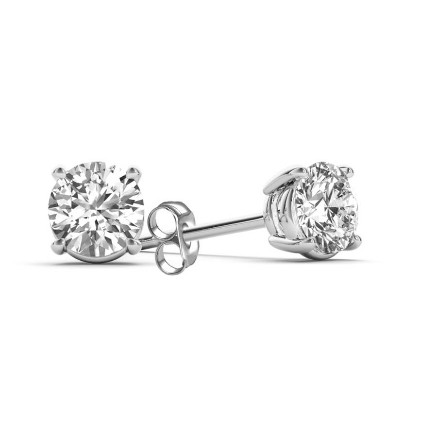 1 1/2 Carat T.W. Diamond Solitaire 14kt White Gold Earrings (I1)