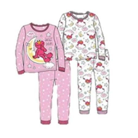 Toddler Girls' Elmo 4-Piece Cotton Pajama Set Sweet Dreams Tonight (4t)](Elmo Girl)