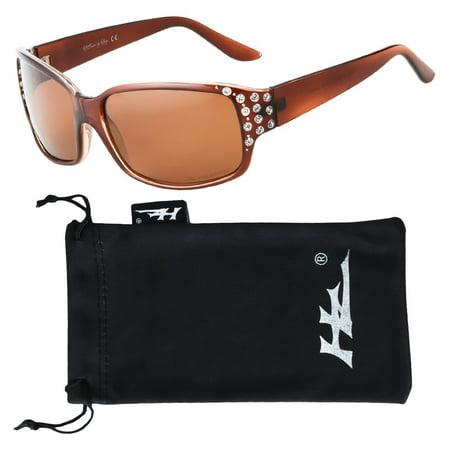 Amber Framed Sunglasses - HZ Series Diamante - Women's Premium Polarized Sunglasses by Hornz - Honey Amber Frame - Amber Lens