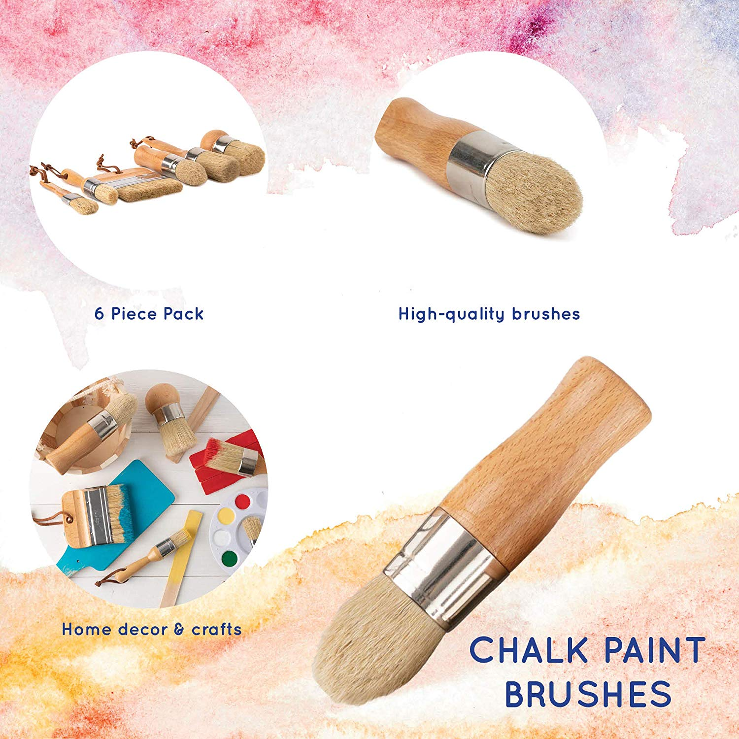 100/% Natural Boar Bristles Smooth Coverage for Furniture Ergonomic Handles Milk Paint /& Stencil DIYARTZ Chalk /& Wax Paint Brush for Waxing /& Painting Projects Minimum Shedding Wide /& Pointed
