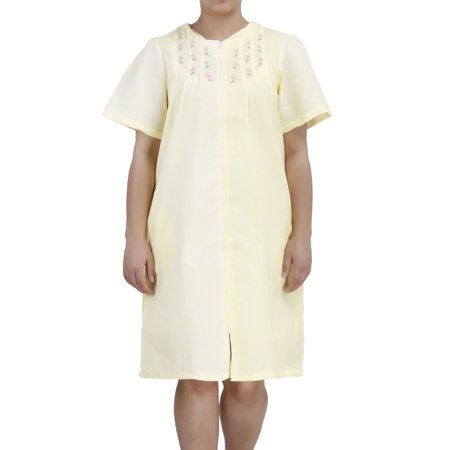 Yellow Cotton Dress - Women's Short Sleeve Zip-Up Cotton House Dress by EZI