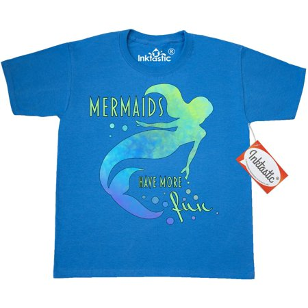 Inktastic Mermaids Have More Fun Youth T-Shirt Mermaid Ocean Swim Swimmer Team Sea Water Hydro Little Sing Under Blue Bubbles Tail Tee Kids Children Child Tween Clothing Apparel Teen - High School Team Apparel