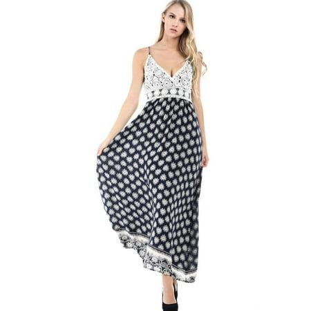 Salt Tree Women's Fashion Magazine Floral Crochet Insert Maxi Dress (Clothes Magazines)