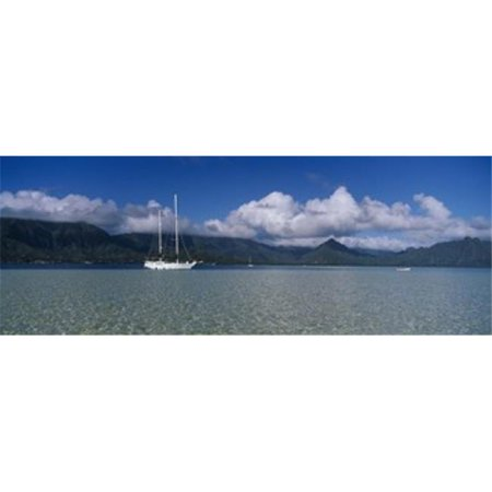 Panoramic Images Ppi70906l Sailboat In A Bay  Kaneohe Bay  Oahu  Hawaii  Usa Poster Print By Panoramic Images   36 X 12