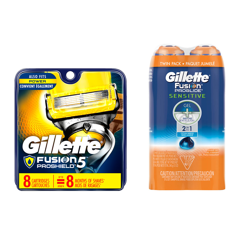 Gillette Fusion5 ProShield 8ct Razor Blade Refill and Shave Gel Bundle