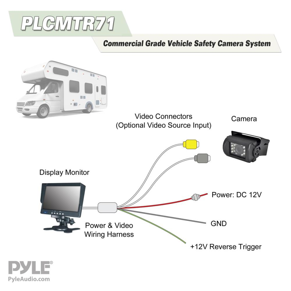Pyle Plcmtr71 Weatherproof Rearview Backup Camera System Kit With Commercial Wiring Harness 7 Lcd Color Monitor Ir Night Vision Dual Dc Voltage 12 24 For Bus Truck