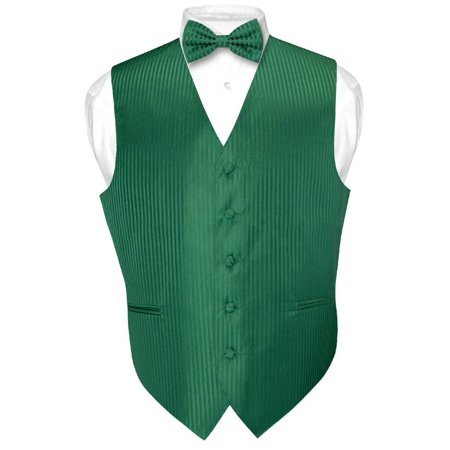 Striped Tailored Suit - Men's Dress Vest & BOWTie EMERALD GREEN Color Vertical Stripe Design Bow Tie Set