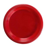 "Exquisite 9"" Disposable Plastic Plates - 50 Count Party Pack Plates - Premium Plastic Disposable Lunch & Dinner Plates, Red"