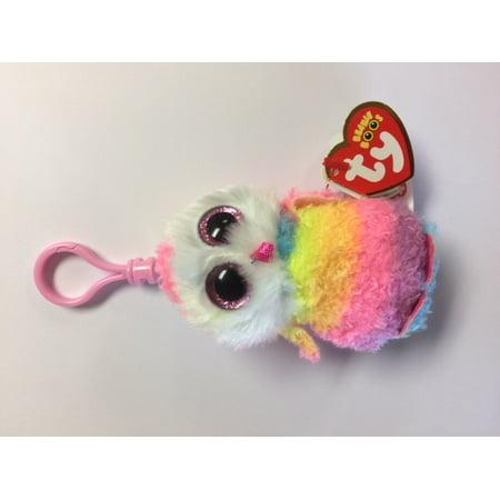Ty Beanie Boos Owen Rainbow Owl Clip With Glitter Eyes