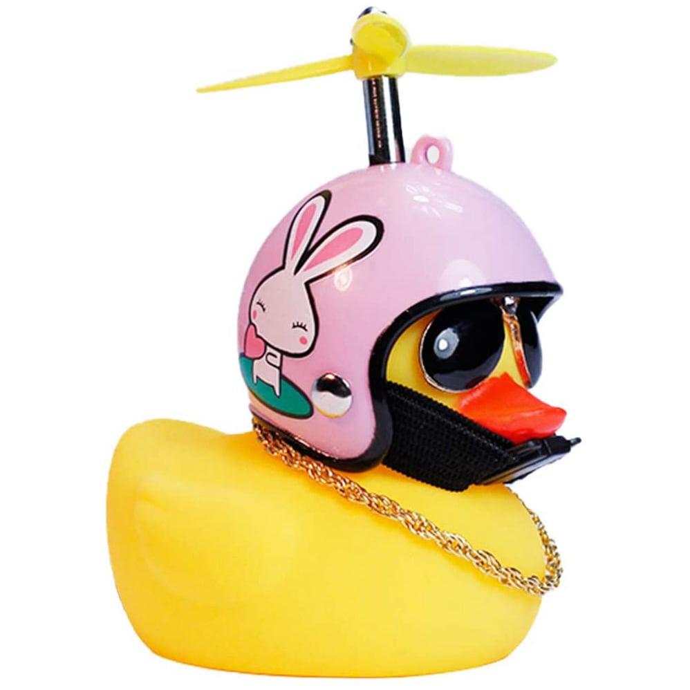 Yellow Duck Helmet Toy Bike Motor Ornaments Car Dashboard Decorations Kid Gift