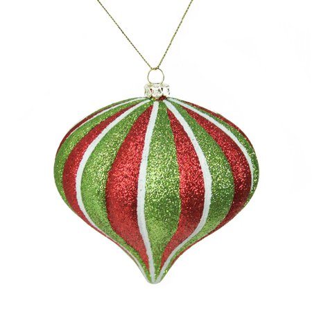 Northlight Seasonal Merry and Bright Glitter Stripe Shatterproof Christmas Onion Ornament