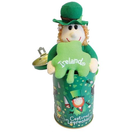 Captured Leprechaun Soft Toy In Moneybox Tin