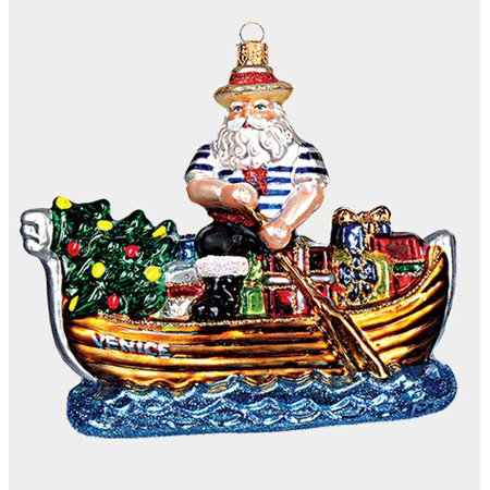 Venice Italy Gondolier Santa Polish Blown Glass Christmas Gondola Ornament New Blown Glass Santa Ornament