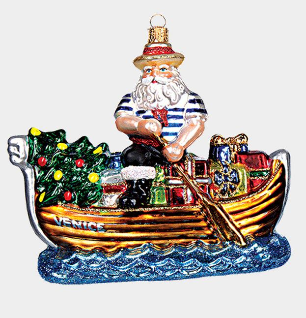 Venice Italy Gondolier Santa Polish Blown Glass Christmas Gondola Ornament New