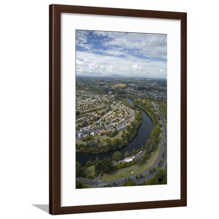 Waikato River and Cobham Drive, Hamilton, Waikato, North Island, New Zealand, Aerial Framed Print Wall Art By David