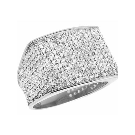 10K White Gold Men's Pave Eternity Real Diamond Ring Band 1.35 Ct Sz-7 Engagement Pinky Ring