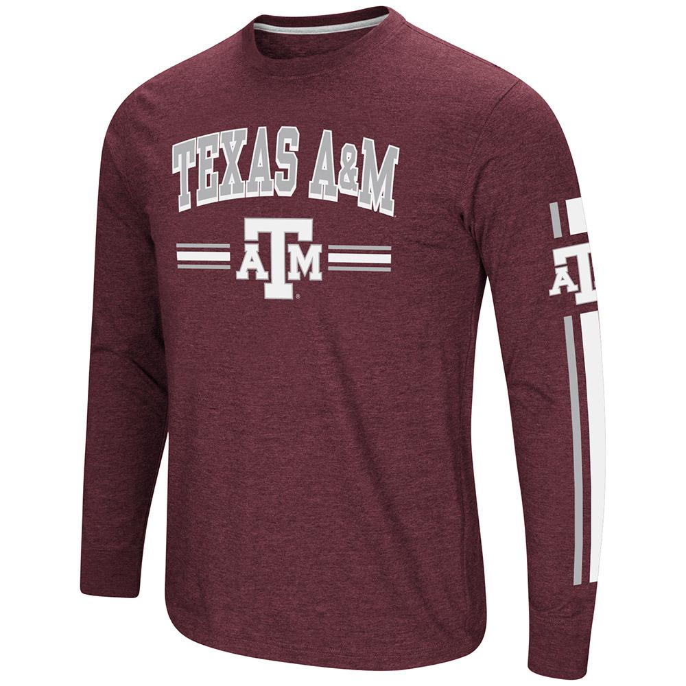 """Texas A&M Aggies NCAA """"Touchdown"""" Men's Dual Blend Long Sleeve T-Shirt"""