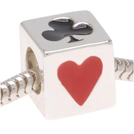 Card Suites (Silver Tone Cube With Playing Card Suits Bead - European Style Large Hole)