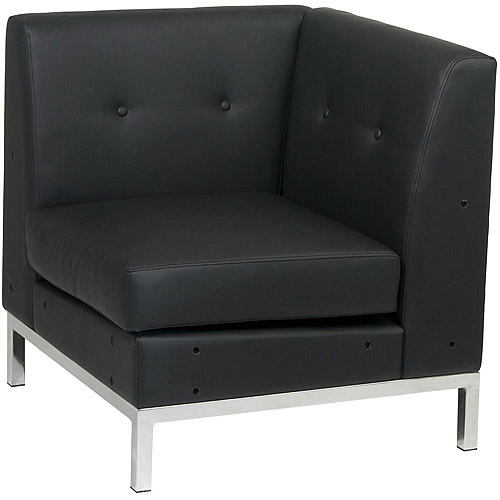 Wall Street Corner Chair, Black Faux Leather