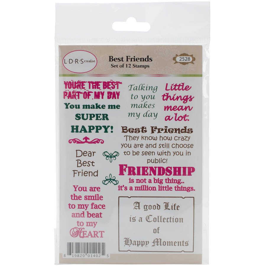 "Little Darlings Cling Stamp, 4"" x 7"", Best Friends Sentiments"