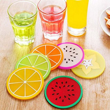 6pcs/set Fruit Pattern Coasters, Round Silicone Cup Mat Tableware Drinks Coffee Mat Kitchen Accessories