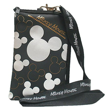 Disney Mickey Mouse Black Silver Lanyard with Cell Phone Case or Coin Purse (1