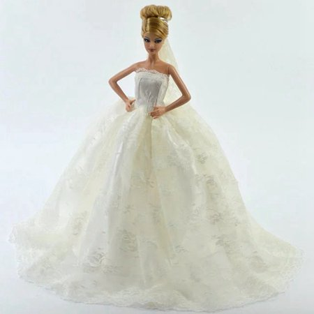 White Gorgeous Bridal Gown with Veil for - Dress Up Adventure Dora Doll