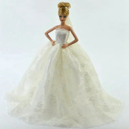 White Gorgeous Bridal Gown with Veil for Barbie Doll