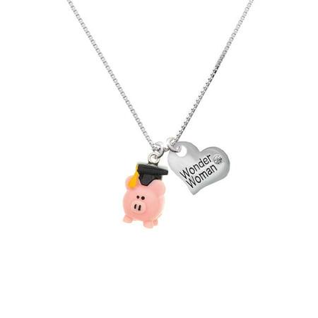 Resin Pink Pig Graduate Wonder Woman Heart Necklace](Wonder Woman Charm)
